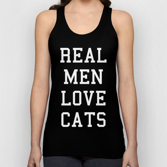 Real Men Love Cats Funny Quote Unisex Tank Top
