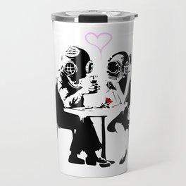 Banksy Diving in Love, Deep Divers Loving Artwork, for Wall Art, Prints, Posters, Tshirts, Men, Wome Travel Mug