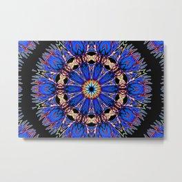 Blooming Nuttall Thistle Neon Kaleidoscope Metal Print