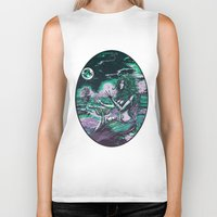 mythology Biker Tanks featuring Mermaid Siren Pearl of atlantis mythology by Scott Jackson Monsterman Graphic