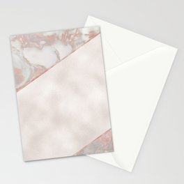 French polished rose gold marble & pearl Stationery Cards