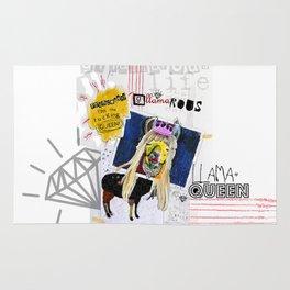 G-LLAMA-ROUS  Princess? I'm the F'ing Queen Llama Collage Rug