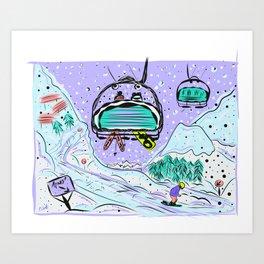 Winter snow alpine wonderland illustration Art Print