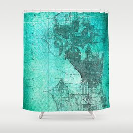 Turquoise Seattle Map Design Shower Curtain