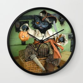 Rucus Studio Halloween Pirate Cat Wall Clock