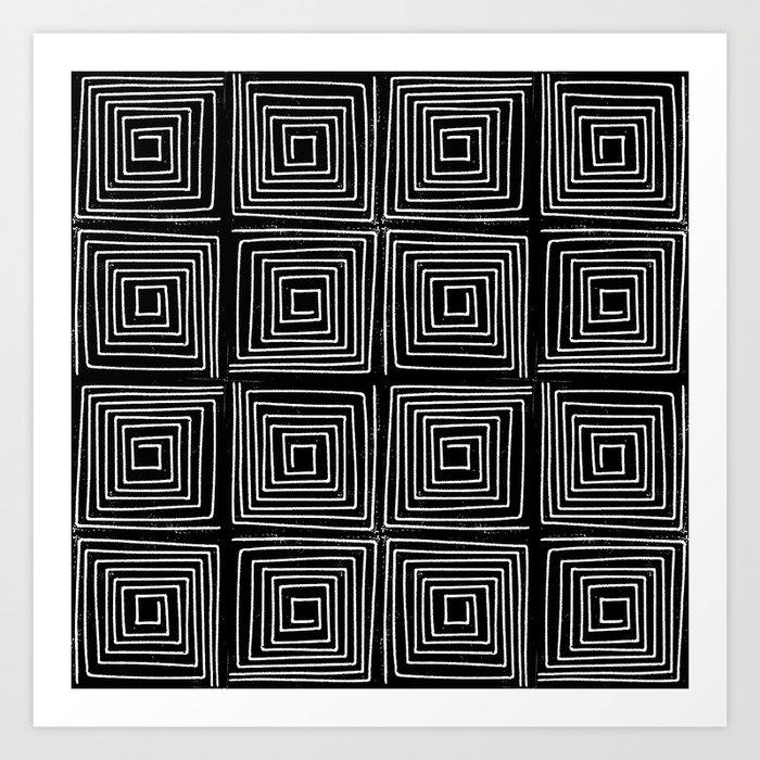 Minimal linocut printmaking geometric square maze pattern scandinavian  minimalist Art Print by monoo