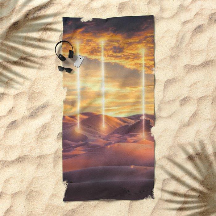 Escape through the light Beach Towel