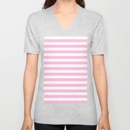 Narrow Horizontal Stripes - White and Cotton Candy Pink Unisex V-Neck