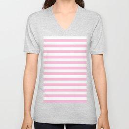 Narrow Horizontal Stripes - White and Cotton Candy Pink Unisex V-Neck
