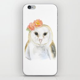 Barn Owl Floral Watercolor iPhone Skin