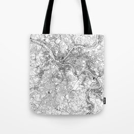 Pittsburgh White Map Tote Bag
