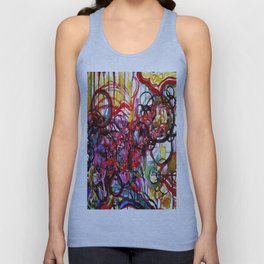 Whimsical Flower Girl's Force Field Acrylic and Watercolor Painting Unisex Tank Top