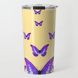 AMETHYST PURPLE BUTTERFLIES FLOCK CREAMY YELLOW Travel Mug
