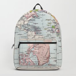Antique Map of European Colonies Backpack