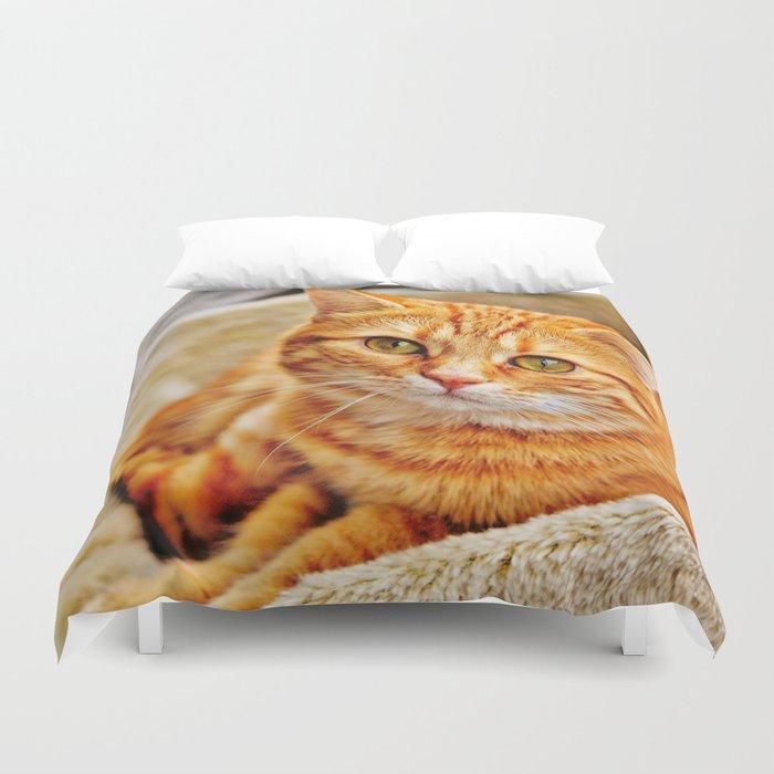 Cute red cat Duvet Cover