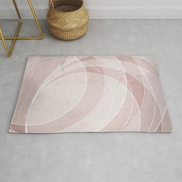 Orbiting Circle Design in Shell Pink Rug