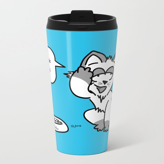 the wise cat - light and darkness Metal Travel Mug