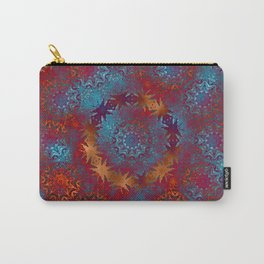 Modern kaleidoscope mandala with texture in blue and orange Carry-All Pouch