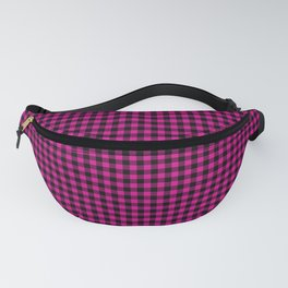 Small Shocking Hot Pink Valentine Pink and Black Buffalo Check Plaid Fanny Pack