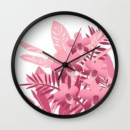 Bouquet of pink tropical plants Wall Clock