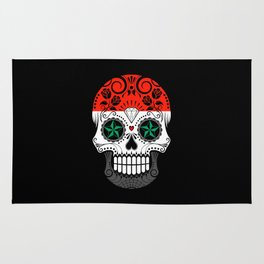 Sugar Skull with Roses and Flag of Syria Rug
