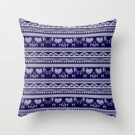 White and Navy Blue Elephant Pattern Throw Pillow