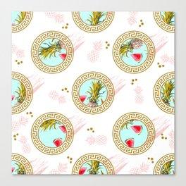Aztec Fruit Pattern Canvas Print