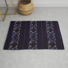 Dots On Purple Background Japanese Shima-Shima Pattern Rug