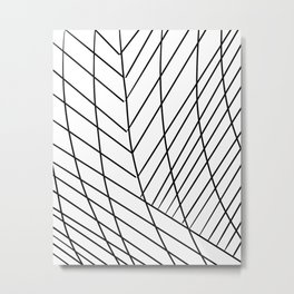 Minimal Abstract Line Art in Black and White Metal Print