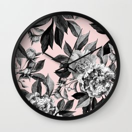 Floral pink - black & white Wall Clock