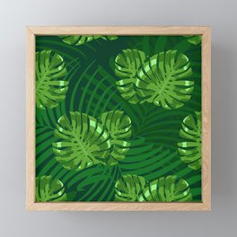 Green Palm Leaves Pattern Over Green Ferns Background Framed Mini Art Print