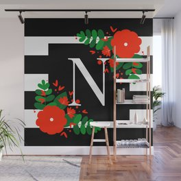 N - Monogram Black and White with Red Flowers Wall Mural