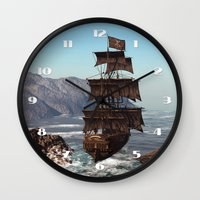 pirate ship Wall Clocks featuring Pirate Ship by Simone Gatterwe