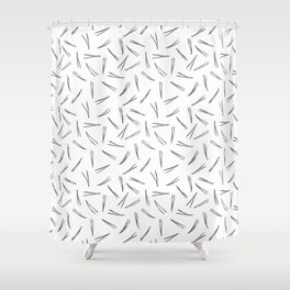 Pine leaves charcaol color on white background Shower Curtain