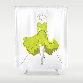 Fashion model silhouette on podium Shower Curtain