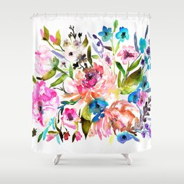 WATERCOLOUR PEONY AND ROSES Shower Curtain