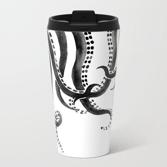 Black Octopus Metal Travel Mug