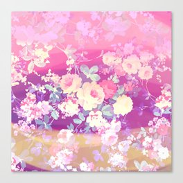 Girly pink lilac ombre brushstroke flowers Canvas Print