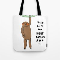 sloth Tote Bags featuring Sloth by Lovisa Valentino