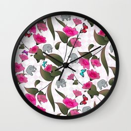 Abstract neon pink green cute elephant floral Wall Clock
