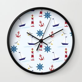 Lighthouse With Anchor Wall Clock