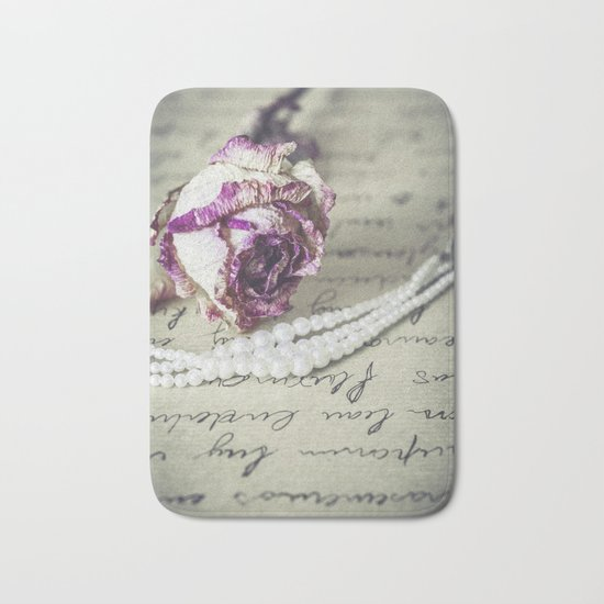 love letter with pearls and rose Bath Mat