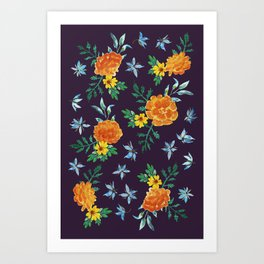 Dark Floral: Marigolds and Borage Art Print