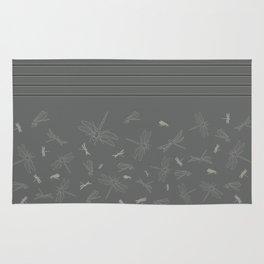 Dragonfly Pattern on Warm Grey Rug