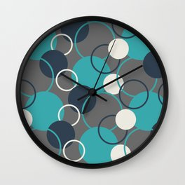 Teal Turquoise Aqua Dark Navy Blue and Alabaster White Solid Color Circles and Rings Pattern - Aquarium SW 6767 Wall Clock