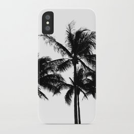 Tropical Palm Trees Black and White iPhone Case