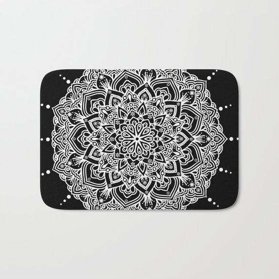 White Mandala With Droplets On Black Bath Mat