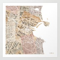 dublin Art Prints featuring Dublin by Mapsland