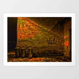 old train stations outside wall and dustbins at night Art Print