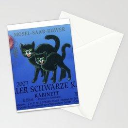 Vintage Pink Magnolia Zeller Riesling Cats Wine Bottle Label Print Stationery Cards